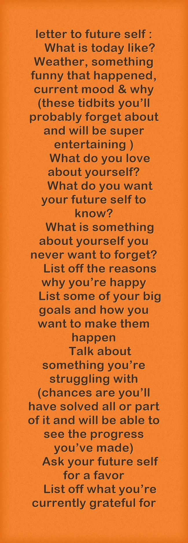 letter to future self My letter to my future self when you signed your independent beauty consultant agreement, what dream was set free in the space below, write a letter to your future self (6 weeks from now), letting her know what expectations your present self has of this ecourse and how it can help you achieve them.